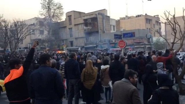 People protest in Tehran, Iran December 30, 2017 in this still image from a video obtained by Reuters