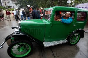 A vintage car participating in the statesman Vintage and Classic car rally seen on road in New Delhi on Sunday. Credit: PTI/Shahbaz Khan