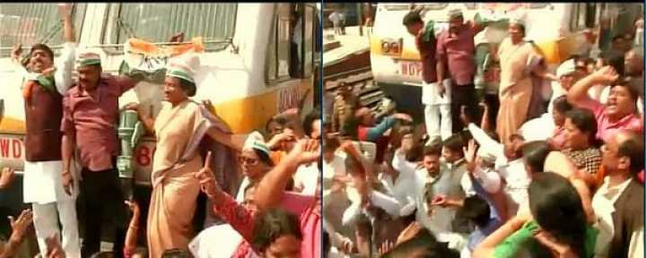 Congress workers also staged a 'Rail Roko' protest