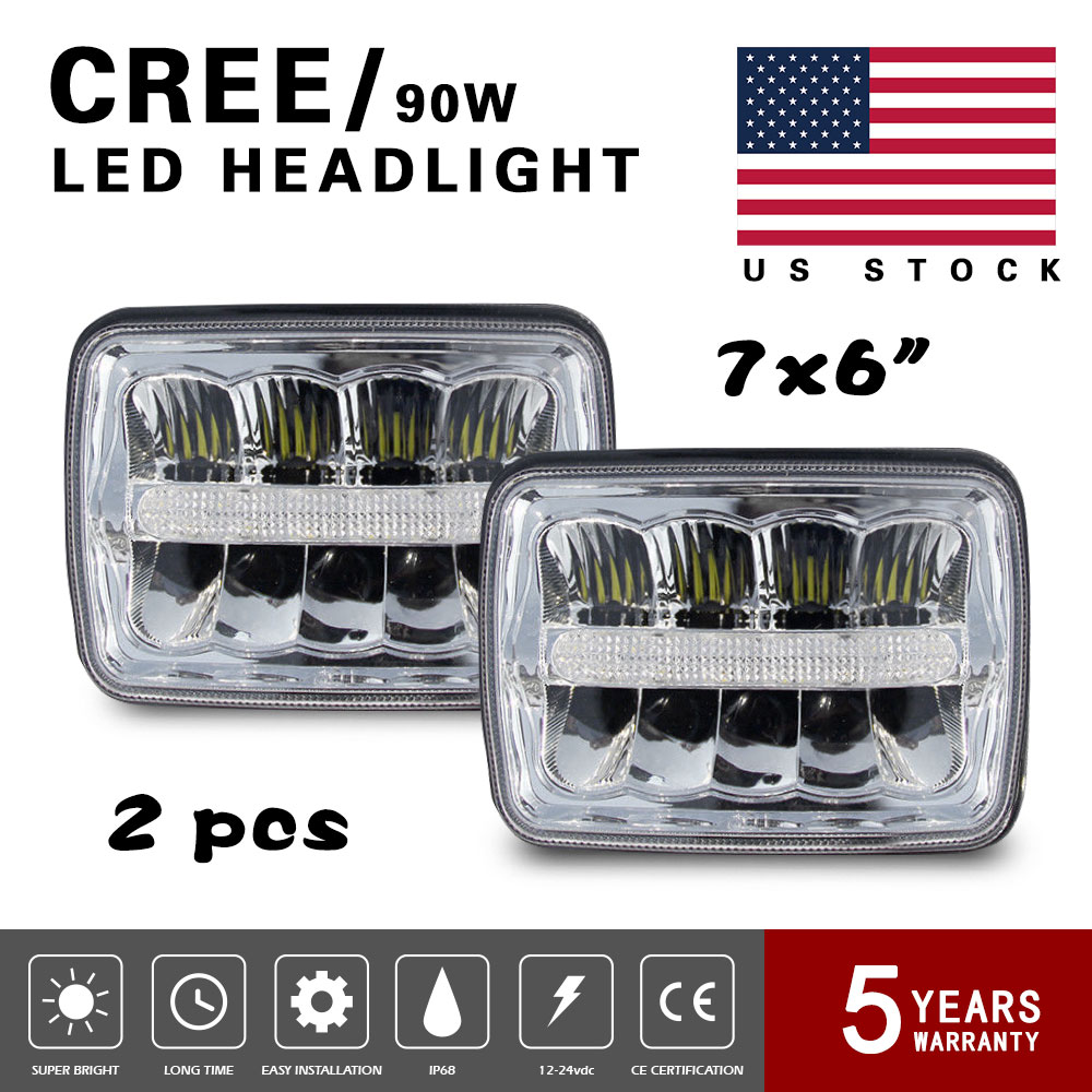 hight resolution of 180w 2pcs 7x6 led headlights sealed beams for ford f700 f750 f550 f600 f650 chevy 4us