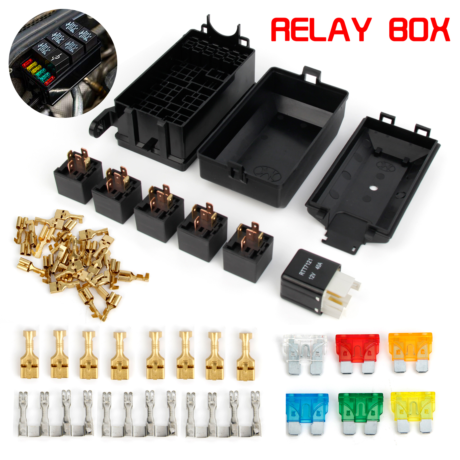 hight resolution of details about fuse box auto 6 relay block holders 5 road fit for car trunk atv insurance au
