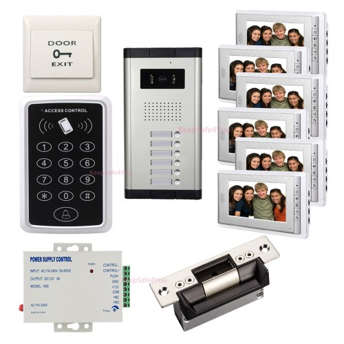 small resolution of  wired video door phone intercom system video doorbell kits heavy duty electric door strike lock power unit push to exit button password controller