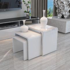 White Living Room Side Table Three Piece Set Modern High Gloss Nest Of 3 Coffee End 699988398560 Ebay