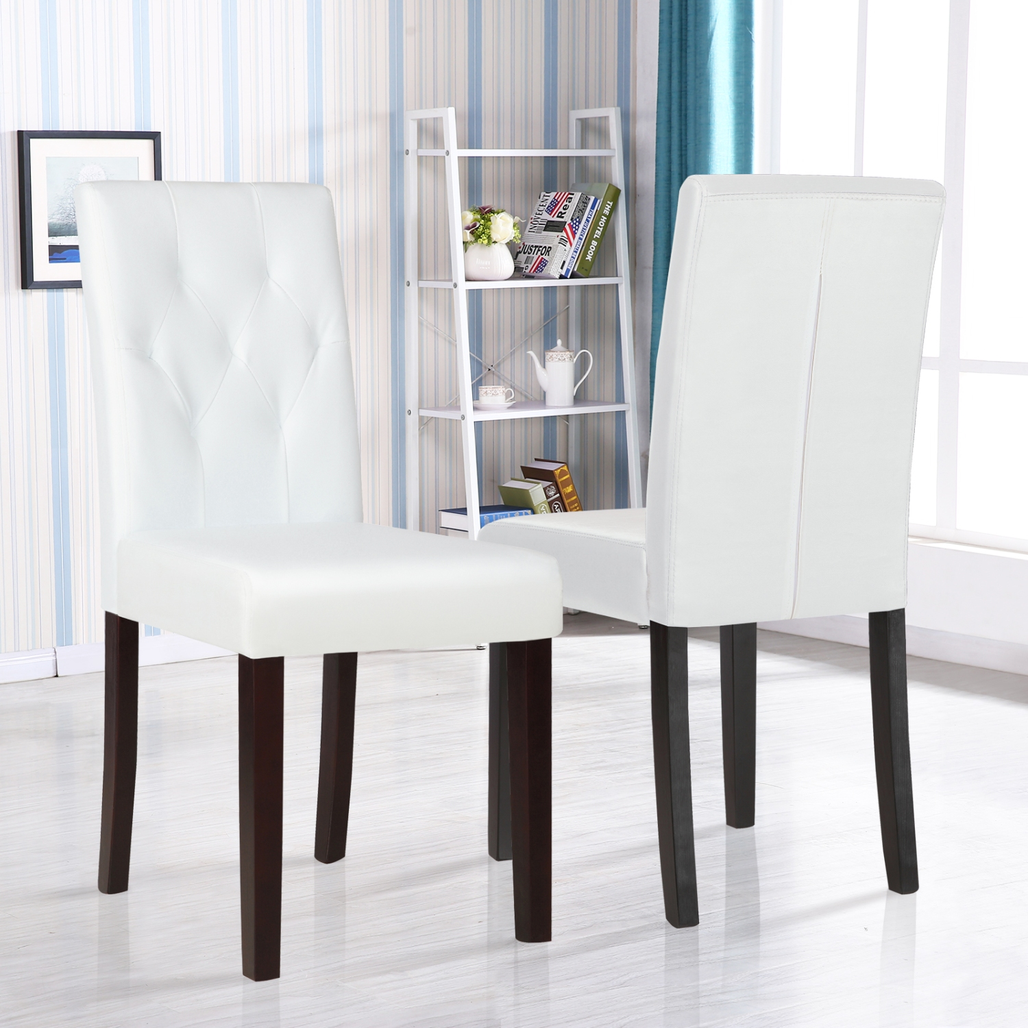 Dining Room Chairs Leather Set Of 2 Ivory White Leather Dining Room Chair Kitchen