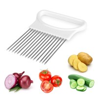 New Stainless Steel+Plastic Easy Cut Onion Holder