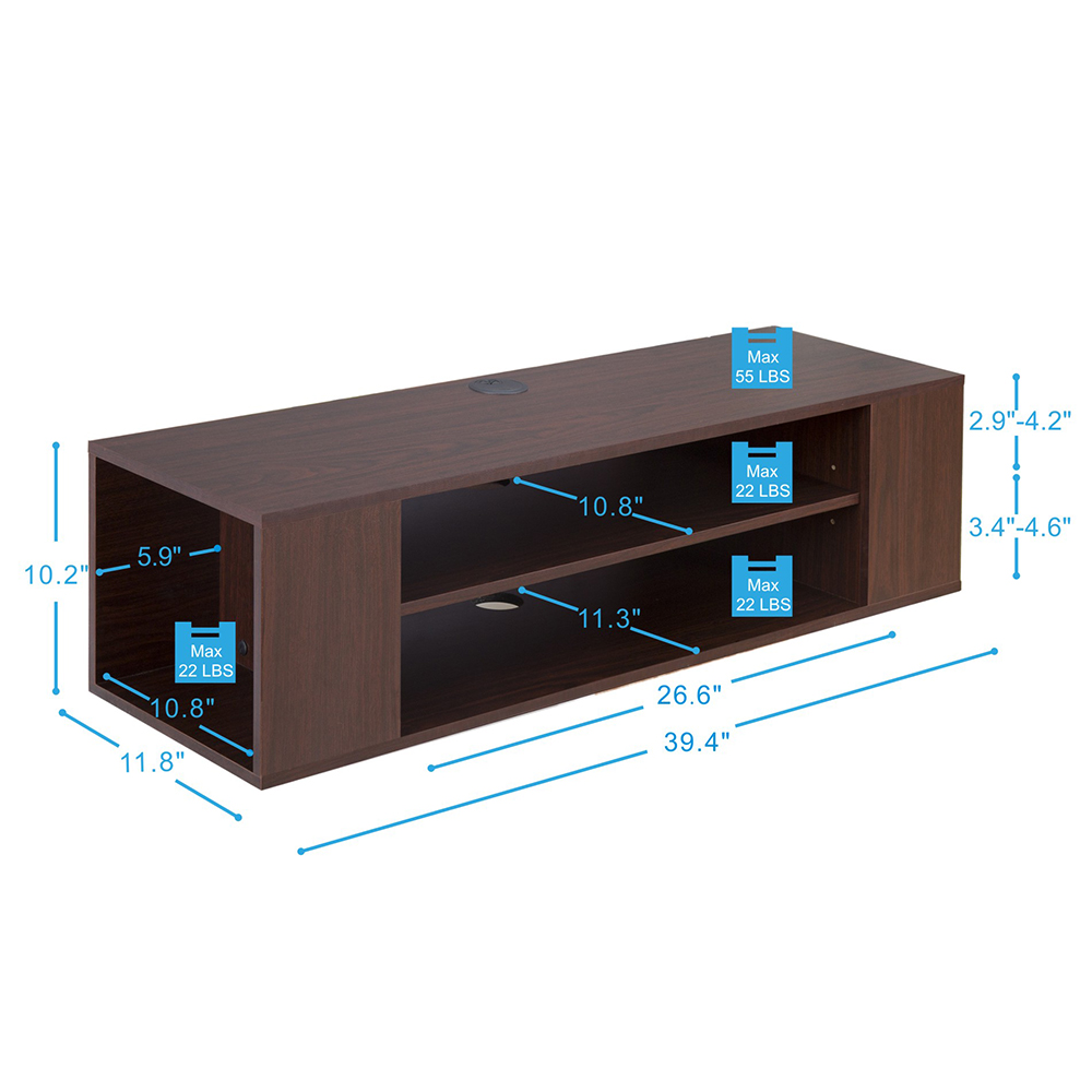 Fitueyes Wood Floating Wall Mount TV Stand Media Console