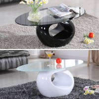 Black White Glass Oval Coffee Table Contemporary Modern ...