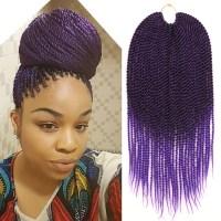 Ombre Purple Crochet Twist Braid Hair Extension Two Tone