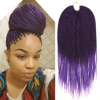 Ombre Purple Crochet Twist Braid Hair Extension Two Tone ...