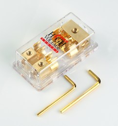 details about gold plated mongoose 2 gang agu fuse block three 4 gauge input two 8 ga output [ 1200 x 1200 Pixel ]