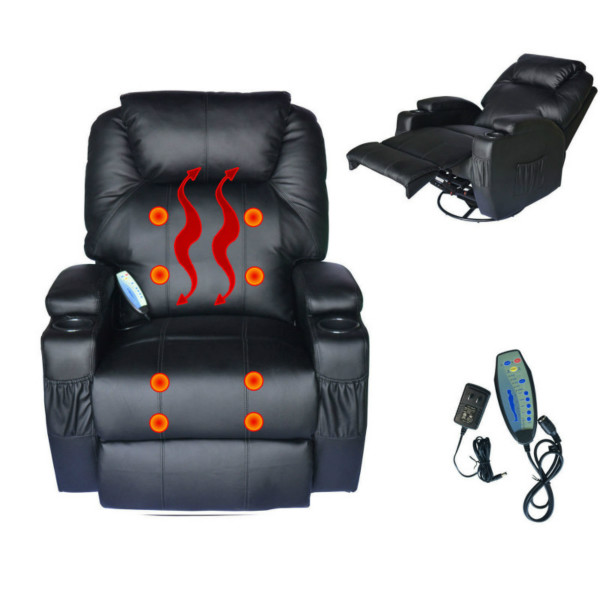 2 seat electric recliner sofa leather l bed full body massage chair w/back roller & heat ...