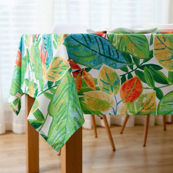 Green Leaves Fabric Tablecloth Waterproof Countryside