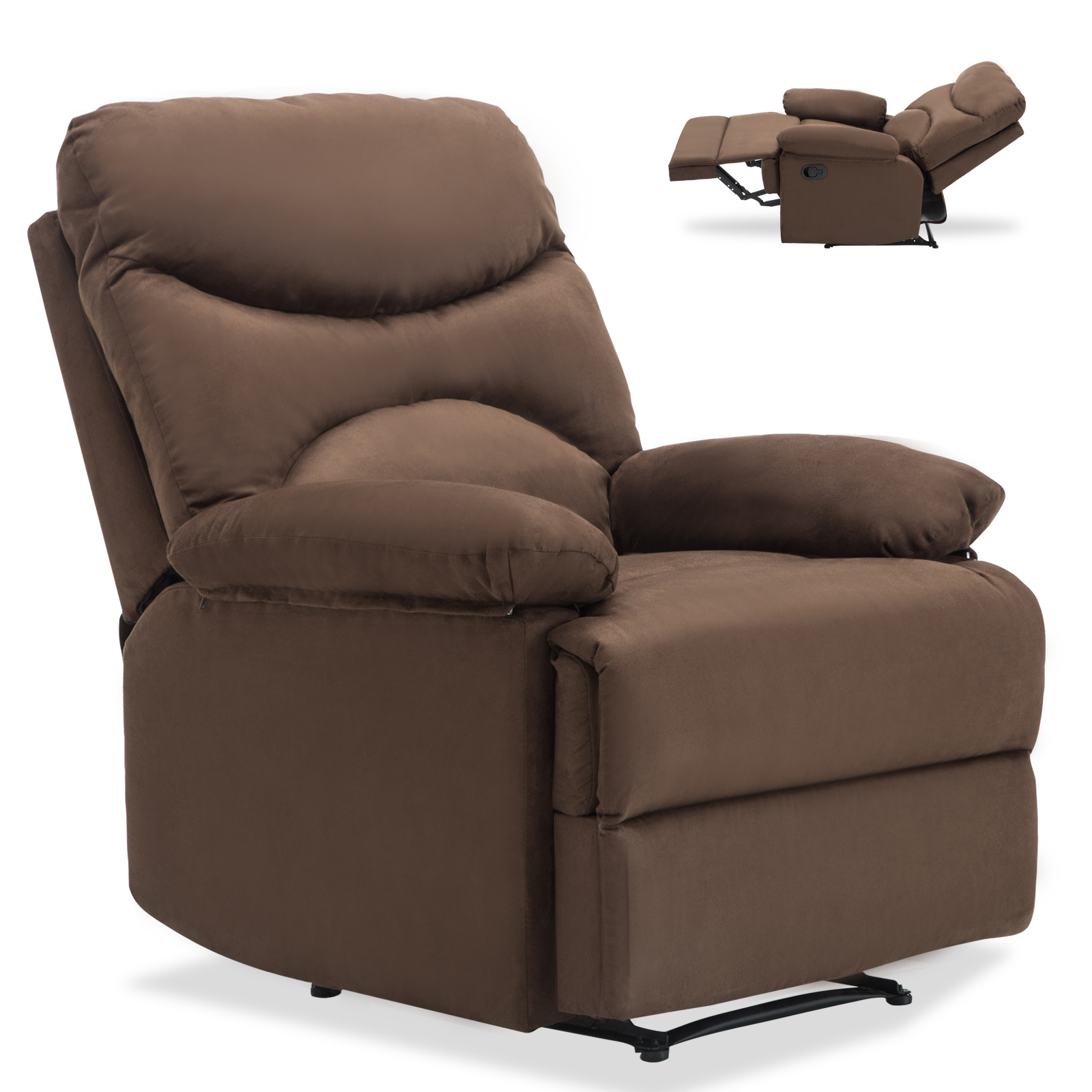 Reclining Lounge Chair Ergonomic Lounge Heated Microfiber Massage Recliner Sofa