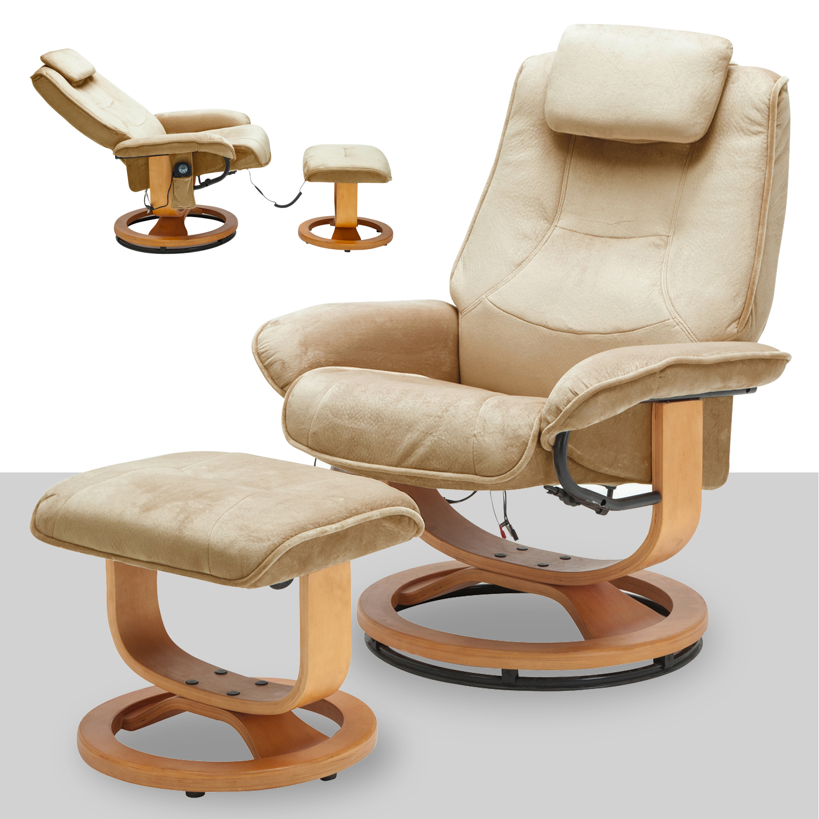 Motor Chair Leisure Recliner Chair 8 Motor Massage Faux Suede Armchair