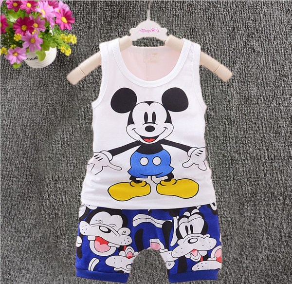 2pc Baby Clothes Kids Boys Cotton Summer Sleeveless Vest