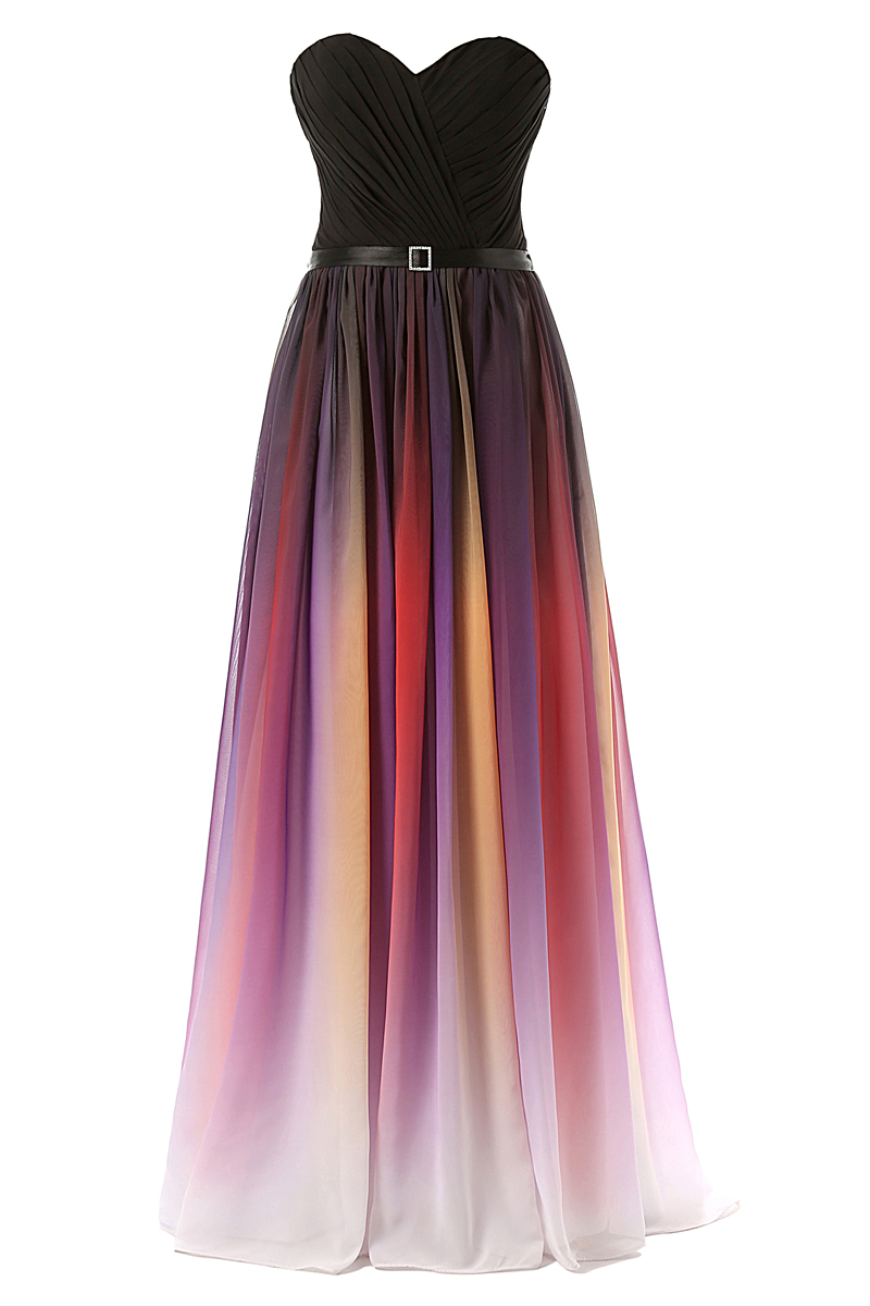 Strapless Ombre Multicolor Chiffon Women Long Dress
