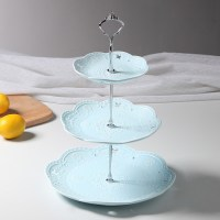 3 Tier Embossed Ceramic Cake Stand Cupcake Stand Food ...