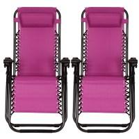Reclining 2PCS Folding Zero Gravity Beach Chairs Lounge ...