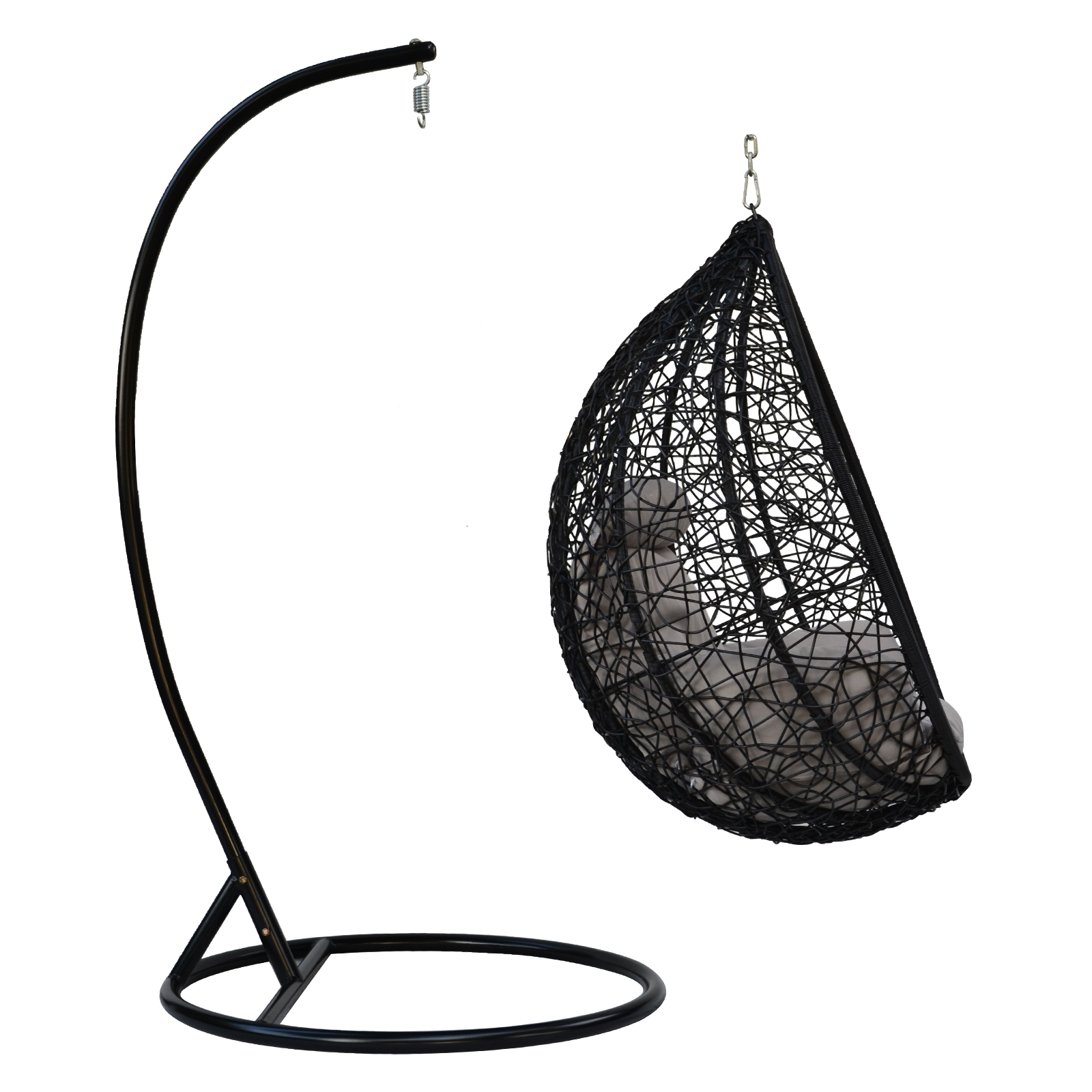 hanging wicker egg chair with stand swivel subnautica outdoor patio furniture black swing rattan