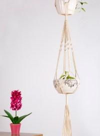 Mkono Macrame Double Plant Hanger Hanging Planter Cotton