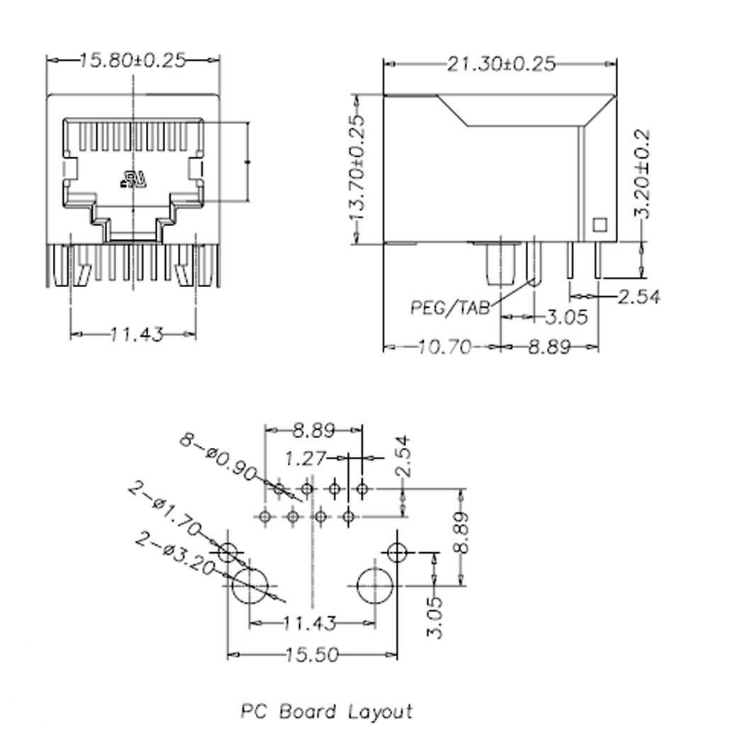 5pcs Metal Rj45 8p8c 8 Pin Shielded Pcb Mount Network