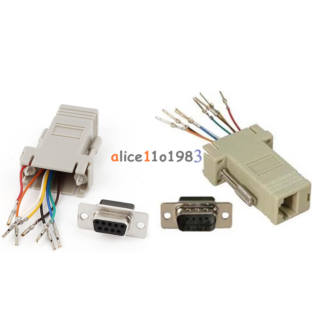 medium resolution of details about rs232 db9 male female plug connector rj45 female buchse ethernet adapter