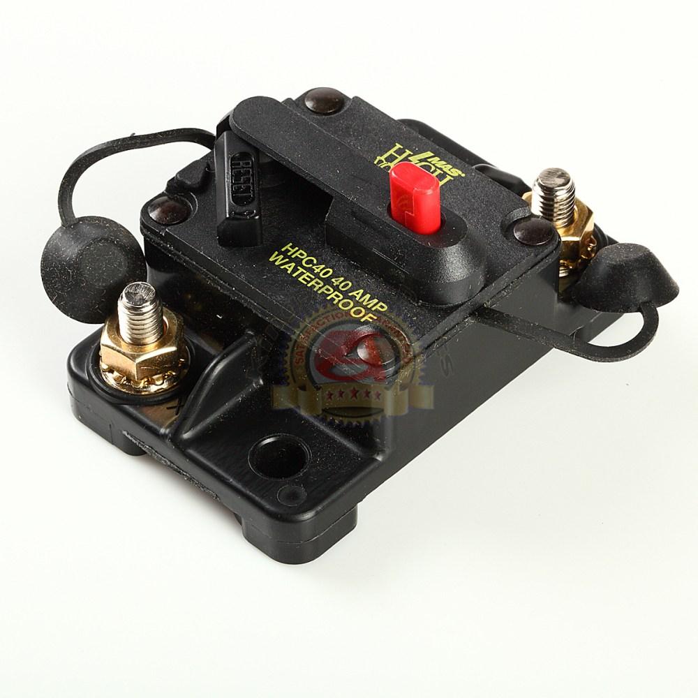 medium resolution of car auto marine inline circuit breaker 40 amp manual reset audio fuse holder 40a
