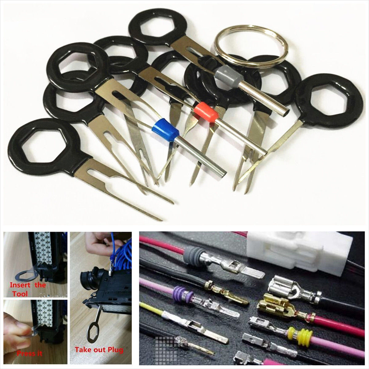 hight resolution of 11pcs car plug circuit board wire harness terminal extractor pick connector tool