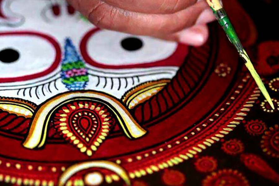Pattachitra art painting is made with natural colours