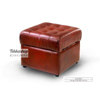 Tekkashop Leather Square Stool Ottoman (Red) 19x19x16inch