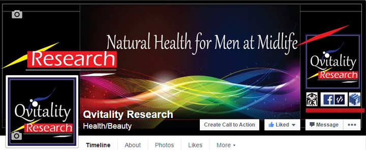 Qvitality Research: Natural Health for Men at Midlife. Actual View of Facebook Page Cover Design 1A. Image size:720x295px