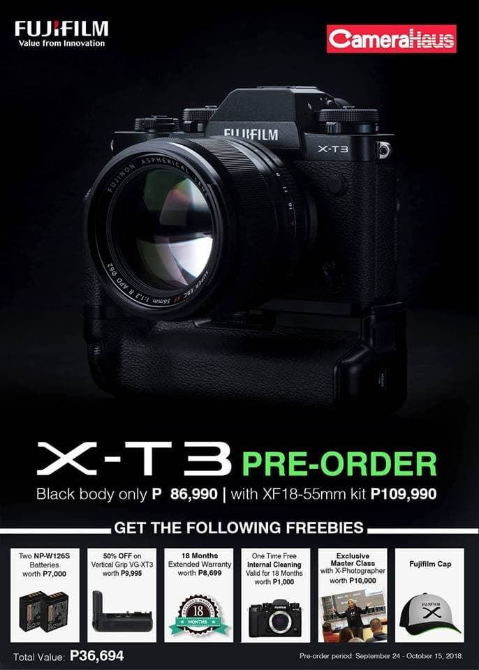 Pre-order Fujifilm X-T3 Body and X-T3 18-55MM at CameraHaus | LoopMe Philippines