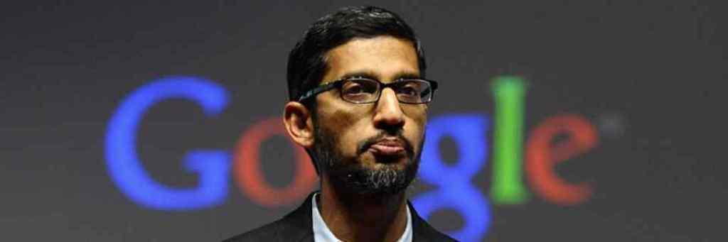 گوگل کے سی ای او سندر پچائی۔ (فوٹو : رائٹرس)