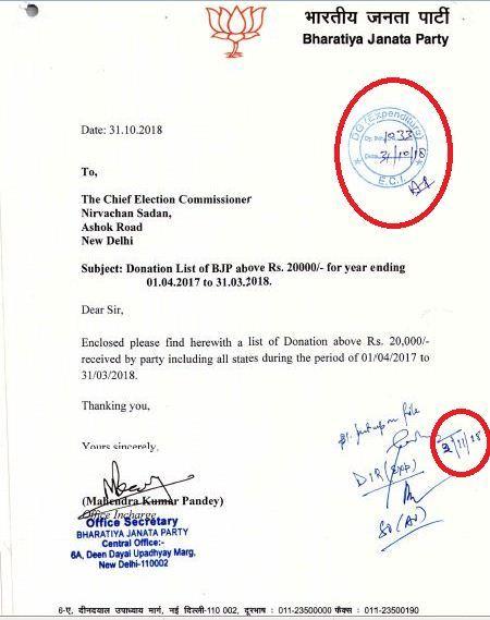 بی جے پی کی رپورٹ کو براہ راست الیکشن کمیشن کے ڈی جی اکسپینڈیچر محکمہ میں بھیجا گیا ہے اور وہاں کے ڈائریکٹر نے دستخط کیا ہے۔ دستخط کی تاریخ کو بھی ایک بار کاٹکر لکھا گیا ہے۔