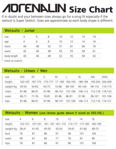 Adrenalin wetsuit size chart womens also guides  warehouse rh wetsuitwarehouse