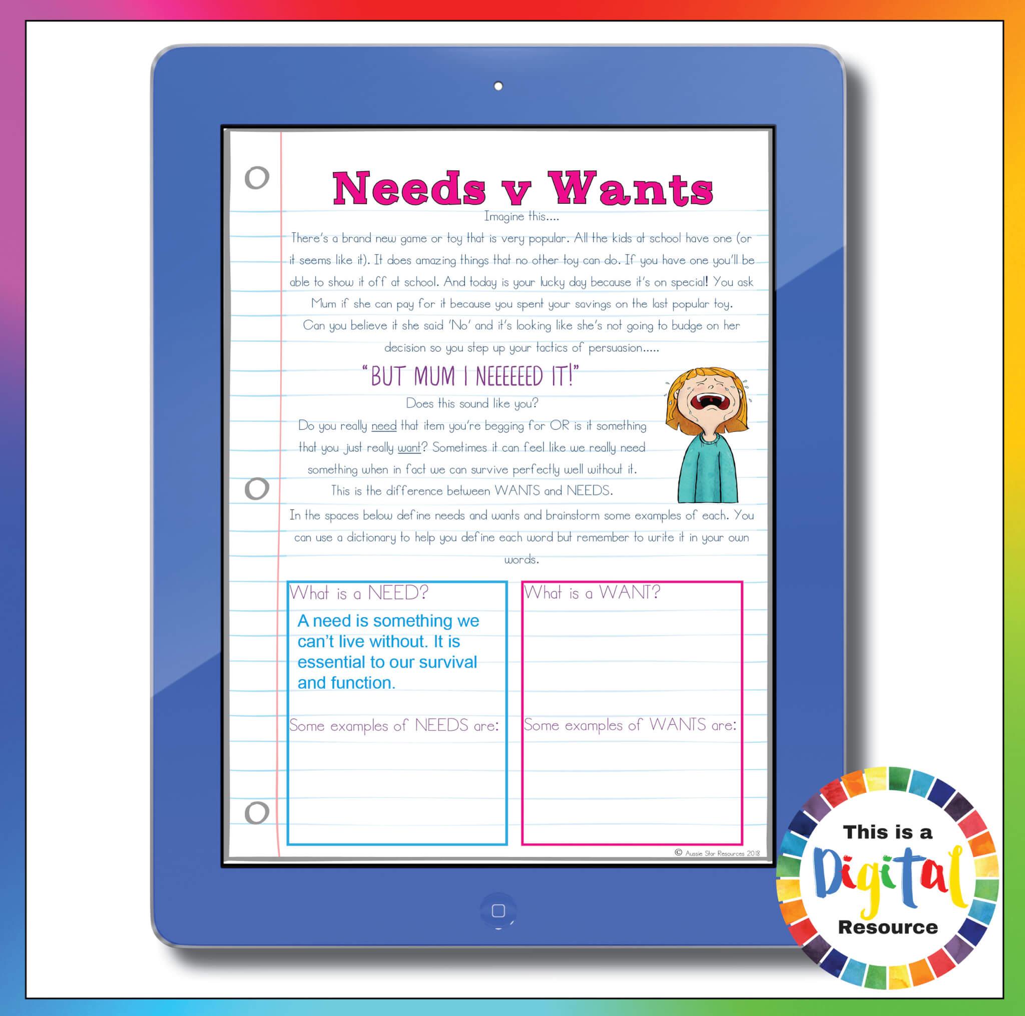 Grade 5 Needs V Wants Digital Sorting Activity Business And Economics