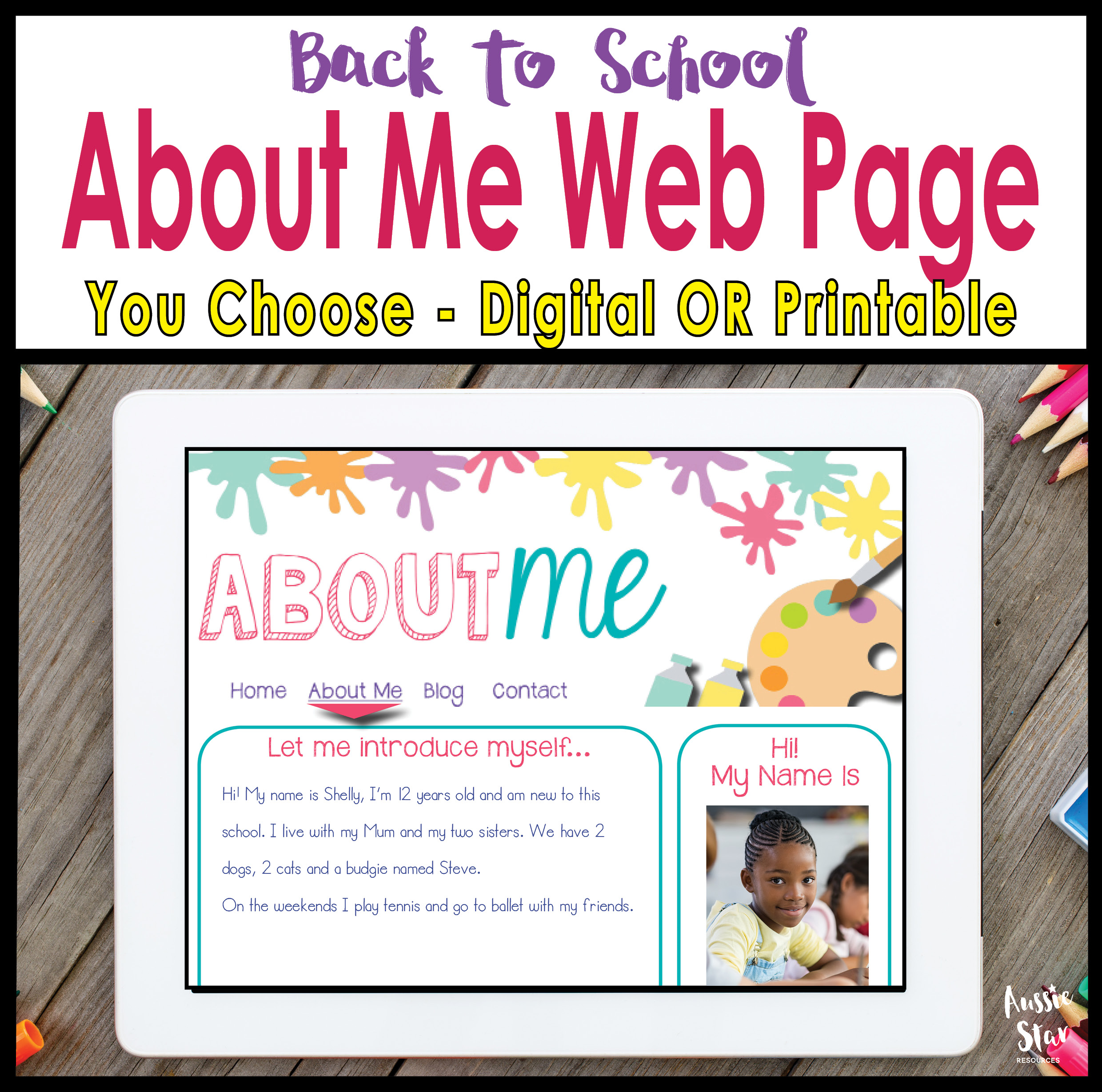 Back To School All About Me Website Templates