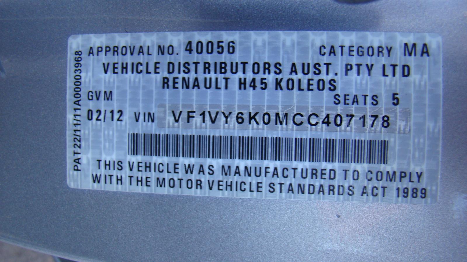 hight resolution of renault koleos fuse box under dash 2 0ltr