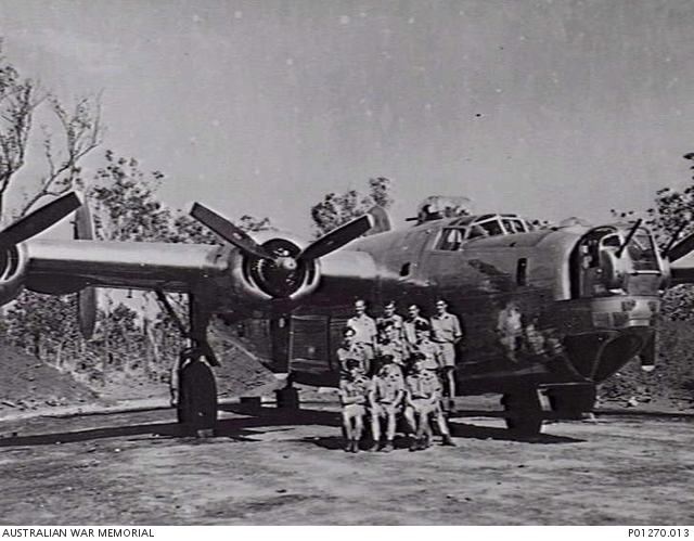 The crew of a B24 Liberator of No 24 Squadron RAAF in