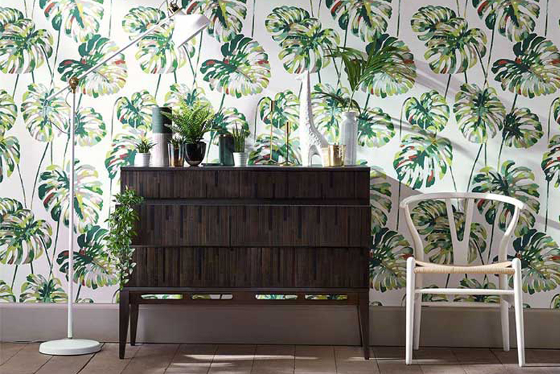 A favourite Australian designer, Kerrie Brown, explores the botanical idea through intricate drawings, with strong and darker colours, and a signature style, ranging from approachable to luxurious. They come in a range of finishes for wallpapers andfabric, so you'll see them on curtains, upholstery, lampshades and cushions.