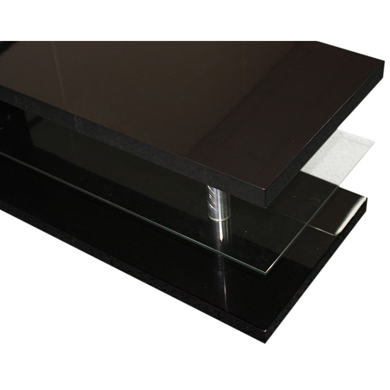 Modern Rectangle Coffee Table in Black MDF & Glass