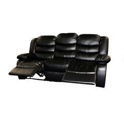 4 Seater Recliner Sofa Black Leather Room Decor 3 Seat Bonded Lounge In | Buy ...