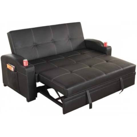 futon sofa bed amazon faux suede durability maple pu leather with cup holders | buy ...