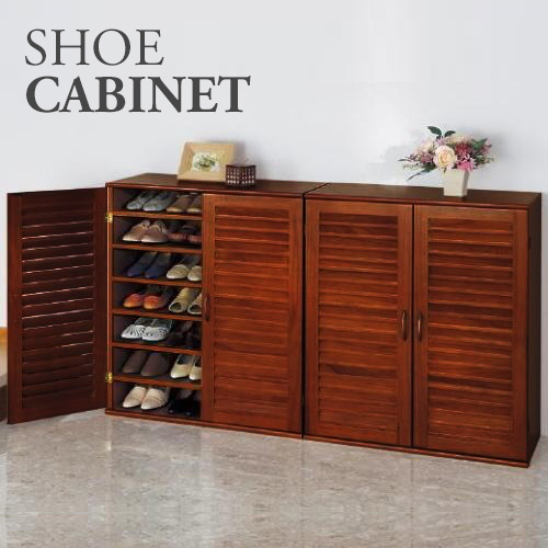 21 Pair Wooden Shoe Cabinet with Adjustable Shelves
