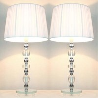 Tall Designer Bedside Table Lamps with White Shades