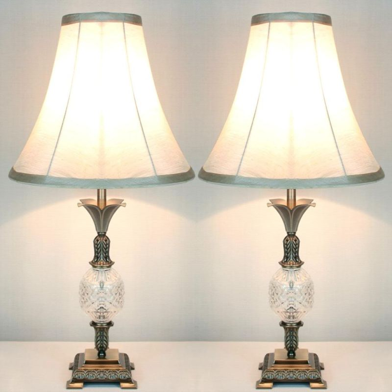 2x Vintage Bedside Table Lamps w/ Glass Metal Base
