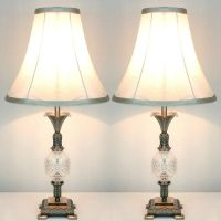 2x Vintage Bedside Table Lamps w/ Glass Metal Base | Buy ...