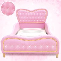 Kids Single PU Leather Studded Heart Bed Frame Pink   Buy ...