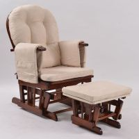 Nursery Breastfeeding Glider Chair w Ottoman Walnut | Buy ...
