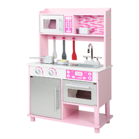 wooden toy kitchens how much for new kitchen cabinets play a the little chef that loves cooking keezi kids set pink silver